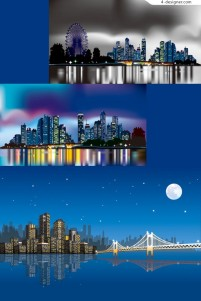 Night city neon vector material