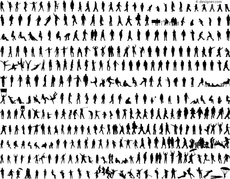 One hundred kinds of action figures silhouette vector materials