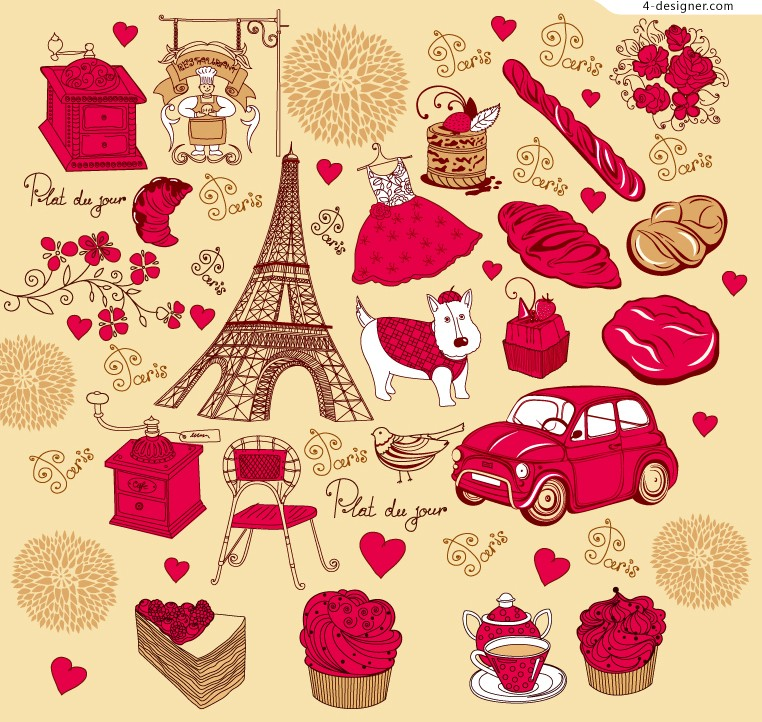 Painted Paris design element vector material