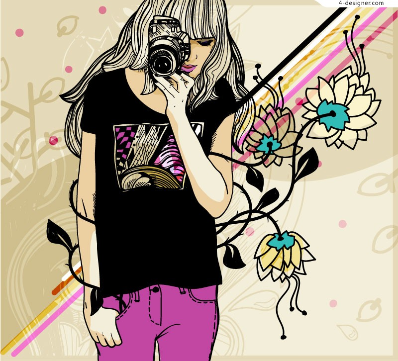 Painted Photography girl vector material