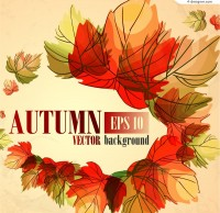 Painted autumn leaves background vector material