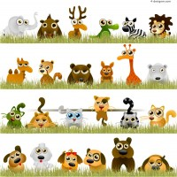 Painted cartoon animal vector material