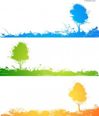 Painted trees banner vector material