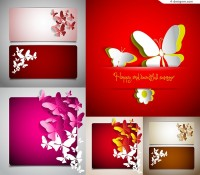 Paper cut butterfly card design vector material
