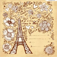 Paris hand painted illustrations vector material