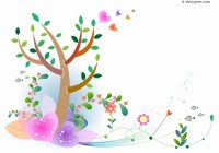 Pastel Spring painting vector material