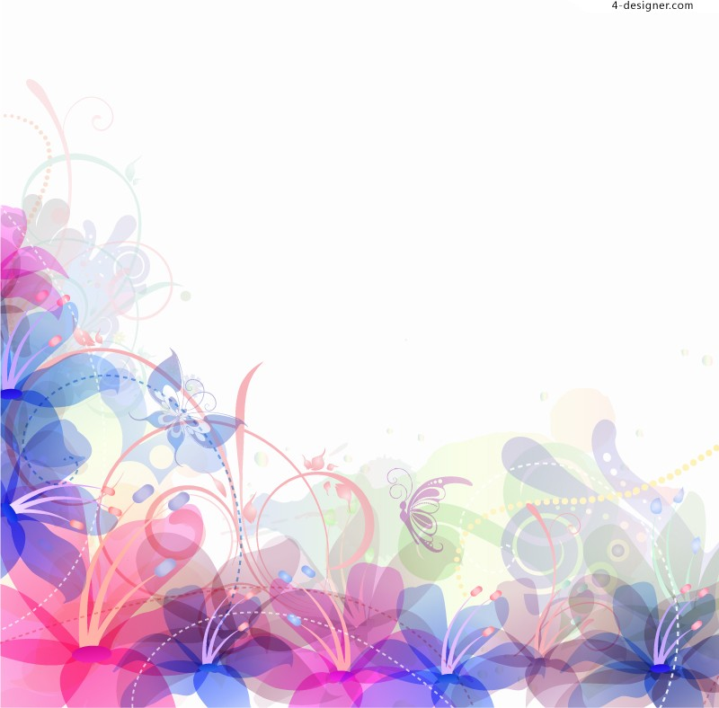 Pastel flowers background vector material