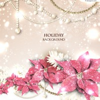 Pearl Floral holiday background vector material