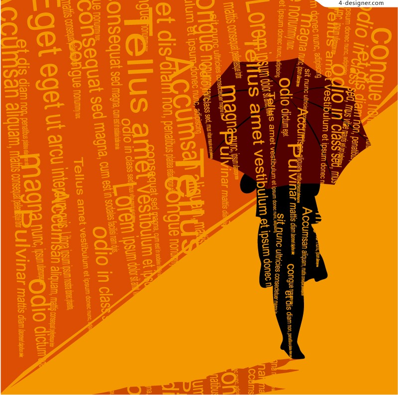 People holding an umbrella silhouette vector material