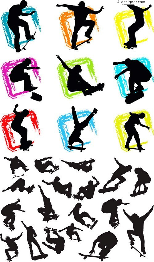 People sport silhouette vector material