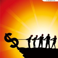 People with money vector material