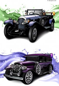 Personalized classic cars vector material