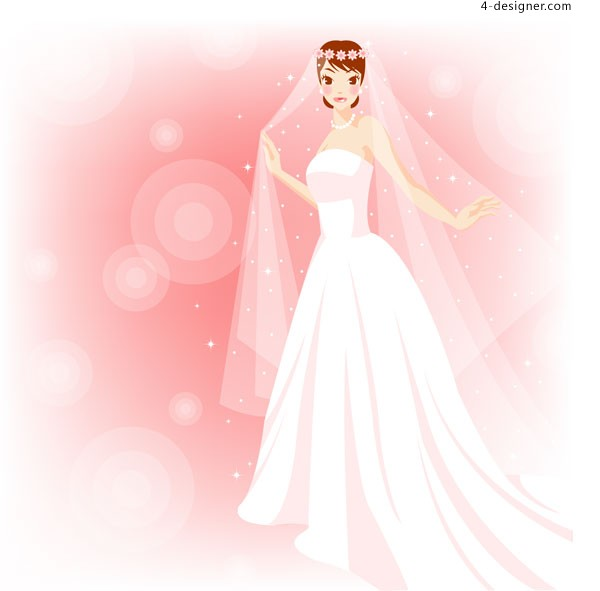 Pink dreamlike wedding bride vector material