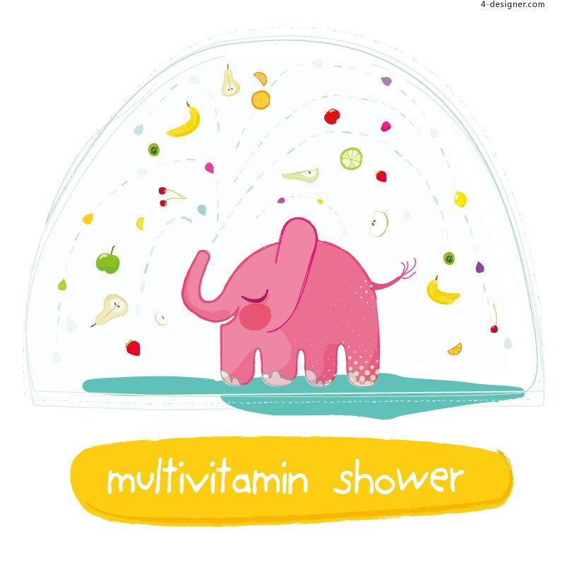 Pink shower elephant illustrator vector material