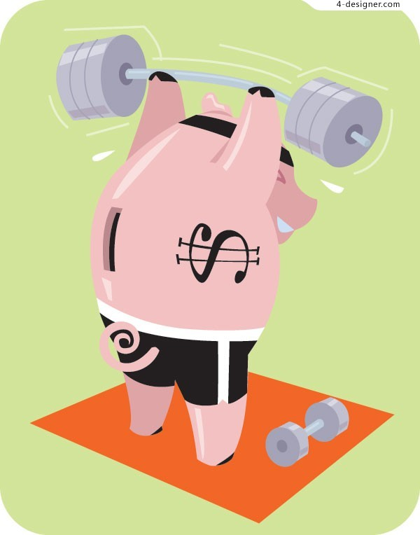 Playing barbell cute pig vector material
