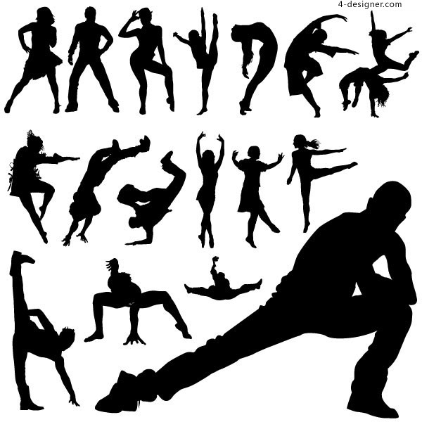 Popular dancing action figure silhouette vector material