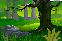 Primeval forest scenery vector material