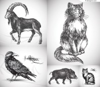 Realistic hand painted animals vector material