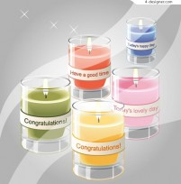 Realistic style holiday candles vector material