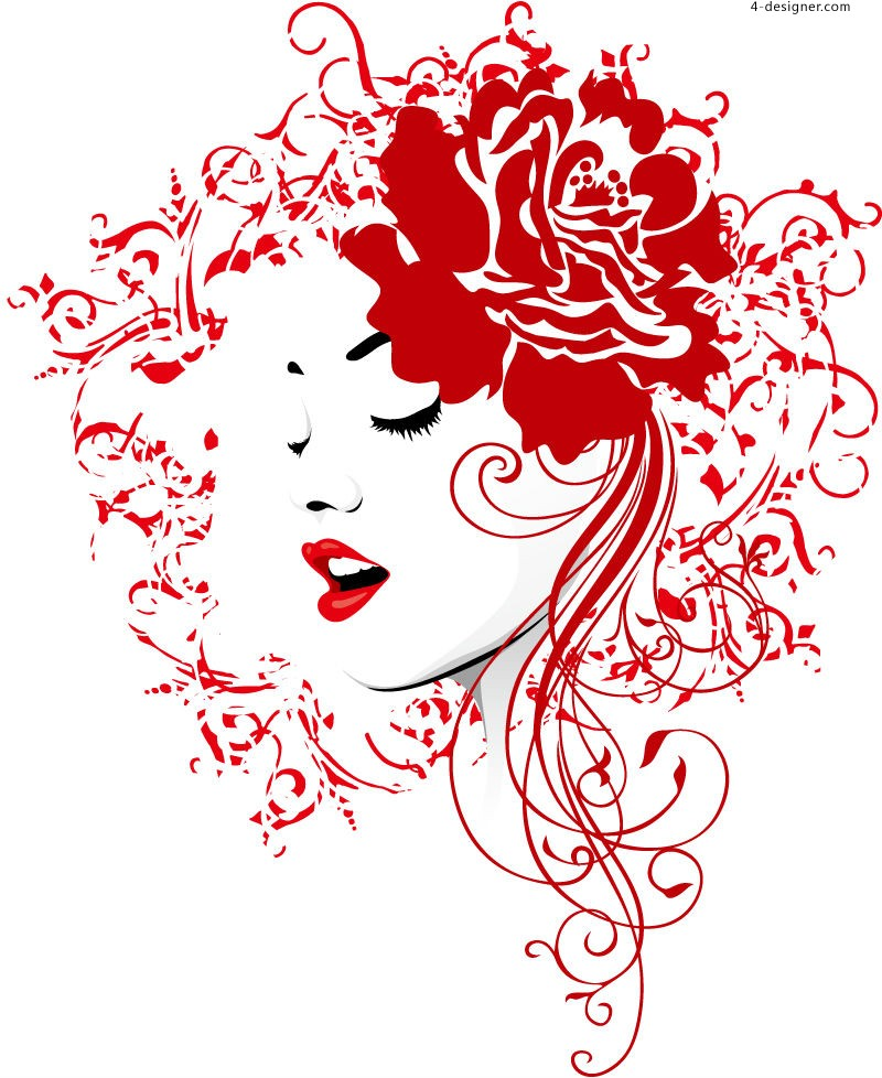 Red pattern woman head portrait vector material
