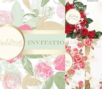 Retro Flowers invitation card vector material