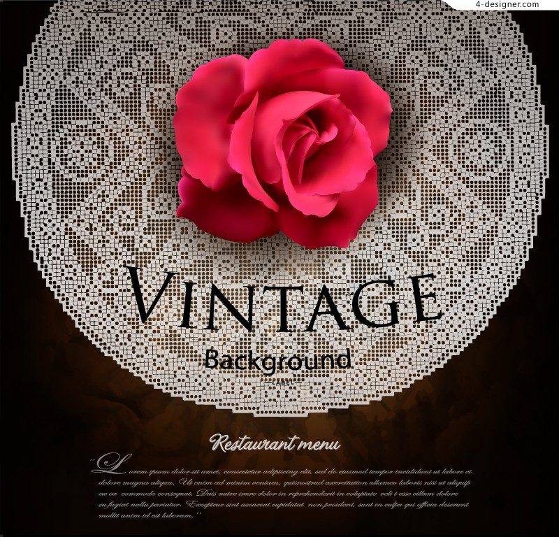 Retro Rose lace background vector material