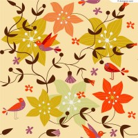 Retro birds twitter and fragrance of flowers background vector material