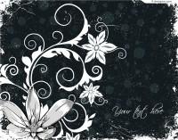 Retro black and white floral background vector material