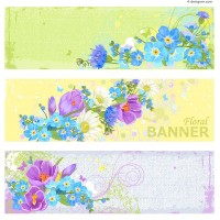Retro flowers banner design vector material