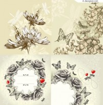 Retro hand drawn butterfly flowers vector material