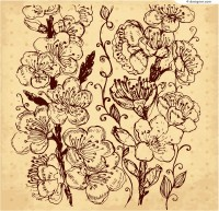 Retro hand painted flowers design vector material