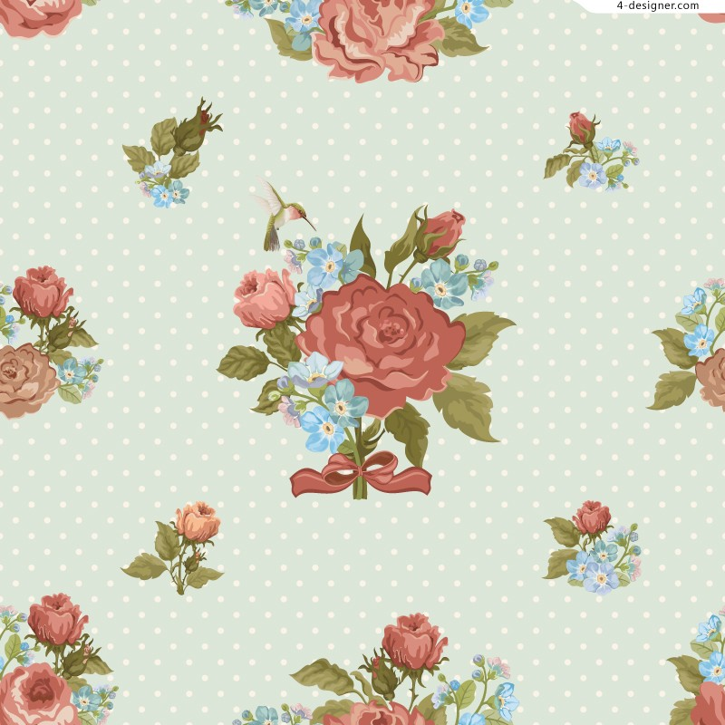 Retro roses background vector material