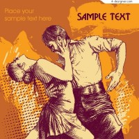 Retro style illustration of the dancers with intent expression vector material