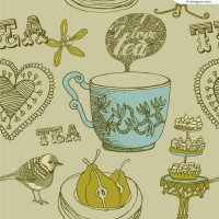 Retro tea illustrator vector material