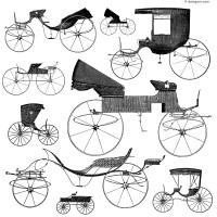 Retro vintage carriage vector material