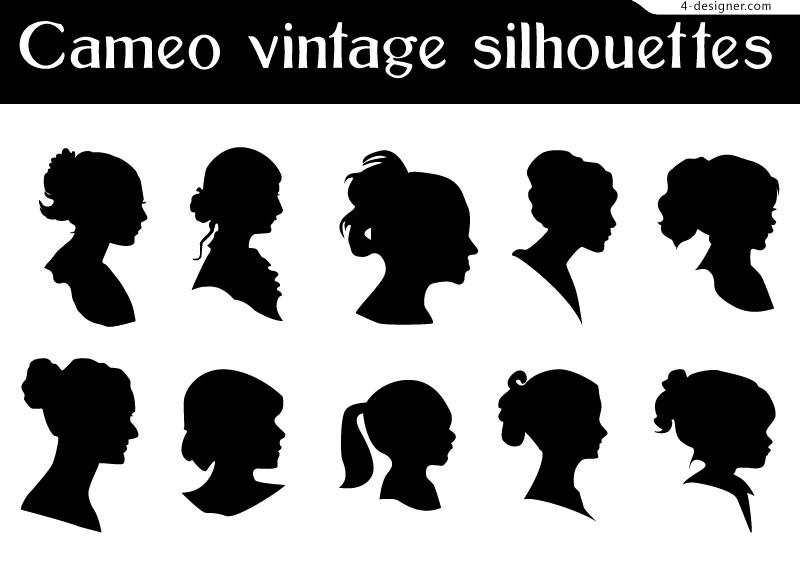 Retro woman bust silhouette vector material