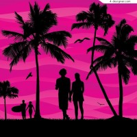Romantic couple on Summer beach side vector material