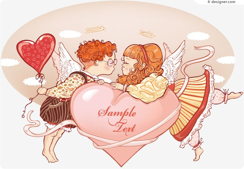 Romantic painting angel vector material