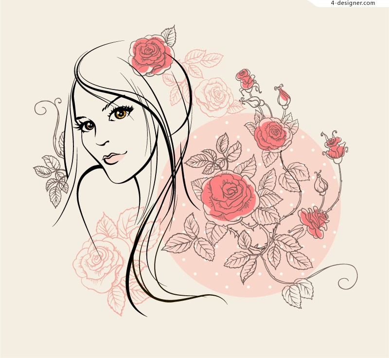 Rose lady vector material