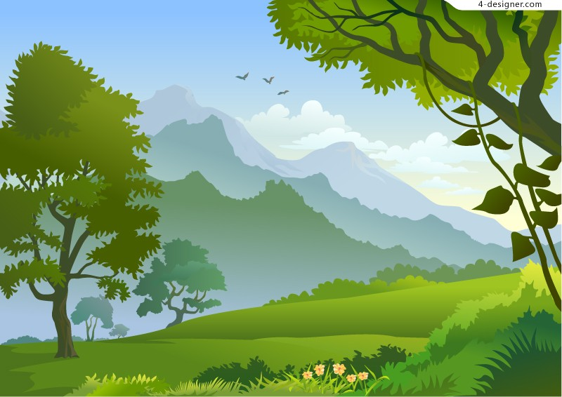 Secluded mountain vector material