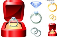 Several exquisite diamond ring vector material