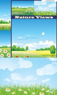 Several pastoral style background vector material