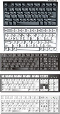 Several realistic keyboard vector material