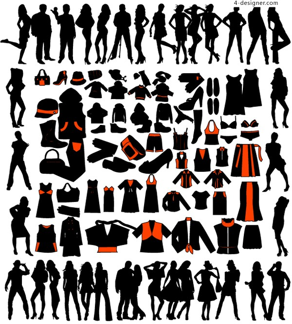 Silhouettes of various characters and clothing for men and women vector material