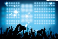 Stage lighting and cheering crowd silhouette vector material
