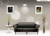 Stylish interior home design vector material