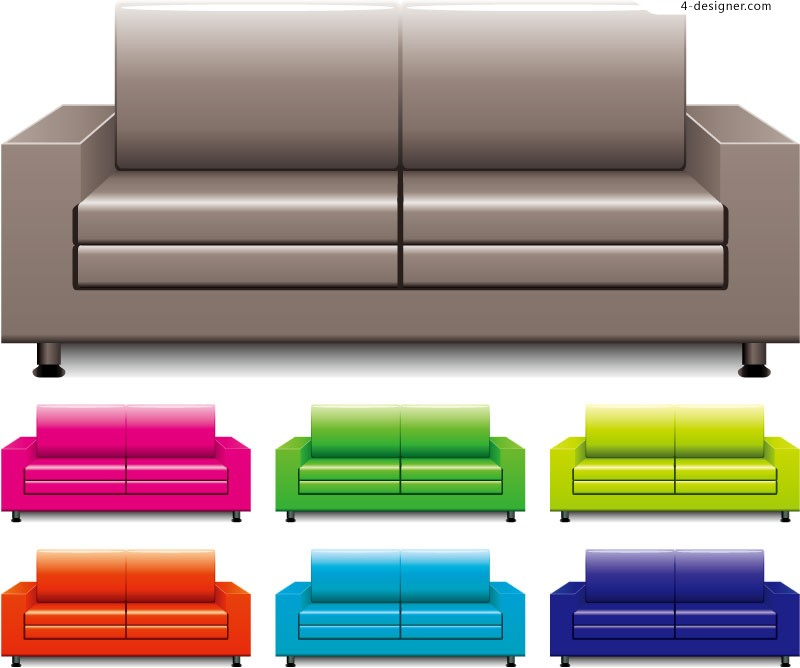Stylish sofa color vector material