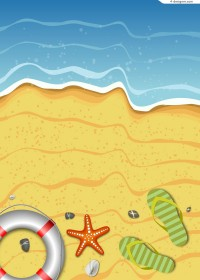 Summer beach scenery vector material