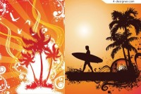 Summer island style vector material