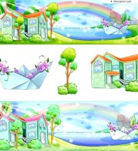 Summer landscape hand painted cartoon vector material